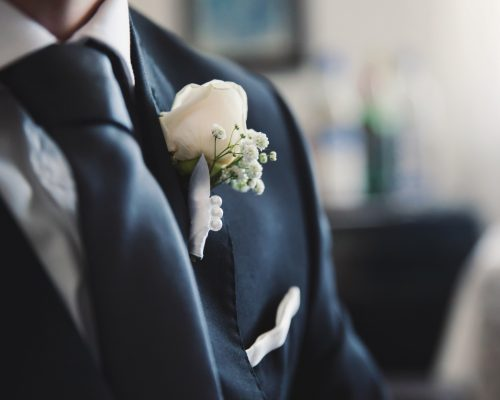 Groom is preparing for the wedding ceremony